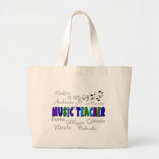 Diseño de la terminología del profesor de música bolsa tela grande