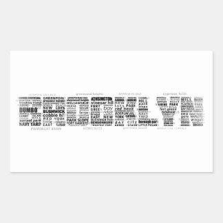 Diseño de la tipografía de Brooklyn NY Pegatina Rectangular