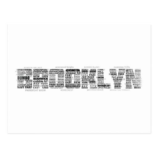 Diseño de la tipografía de Brooklyn NY Postales
