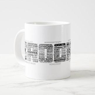Diseño de la tipografía de Brooklyn NY Tazas Jumbo