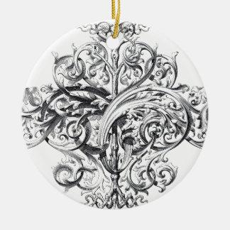 Diseño de la tipografía de la voluta del vintage adorno navideño redondo de cerámica