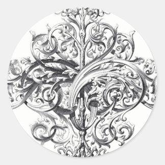 Diseño de la tipografía de la voluta del vintage etiquetas redondas