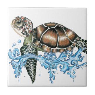 diseño de la tortuga de mar azulejo cuadrado pequeño