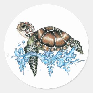 diseño de la tortuga de mar pegatina redonda