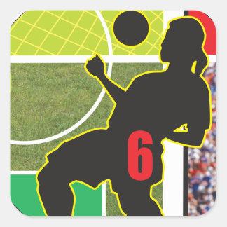 Diseño de la trampa del pecho del fútbol pegatina cuadradas