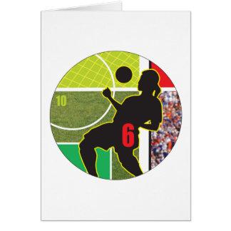 Diseño de la trampa del pecho del fútbol tarjeta de felicitación
