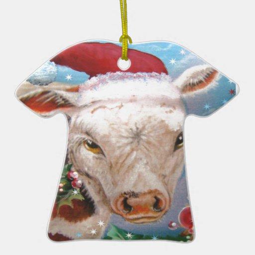 Diseño de la vaca del navidad adorno navideño de cerámica en forma de playera