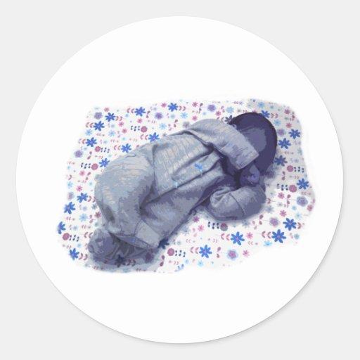 Diseño de la versión de los azules cielos el pegatinas redondas