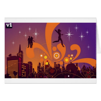 Diseño de la vida nocturna de la ciudad tarjeta de felicitación