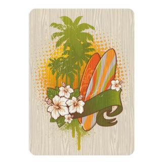 """Diseño de la viruta que practica surf invitación 5"""" x 7"""""""