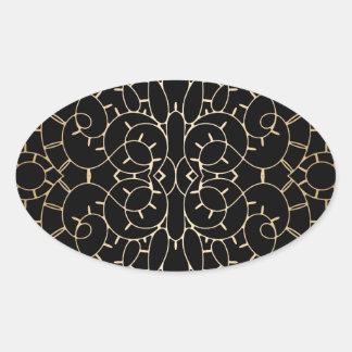 Diseño de la voluta del cordón del vintage del oro pegatina oval