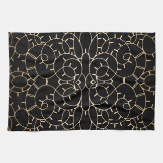 Diseño de la voluta del cordón del vintage del oro toallas de mano