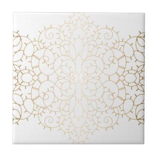 Diseño de la voluta del oro del vintage azulejo cuadrado pequeño