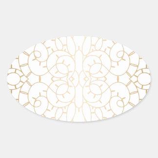Diseño de la voluta del oro del vintage calcomanía ovalada