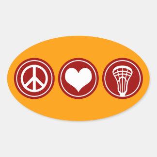 Diseño de LaCrosse del amor de la paz Pegatina Ovalada