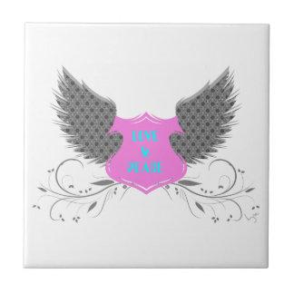 Diseño de las alas del ángel del amor de la paz azulejo cuadrado pequeño
