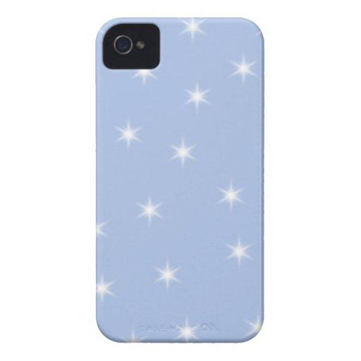 Diseño de las estrellas blancas y azules Case-Mate iPhone 4 coberturas