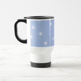 Diseño de las estrellas blancas y azules taza de viaje de acero inoxidable