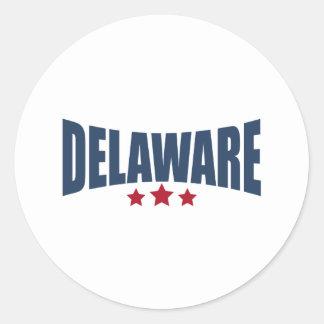 Diseño de las estrellas de Delaware tres Etiqueta Redonda