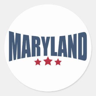 Diseño de las estrellas de Maryland tres Pegatina Redonda
