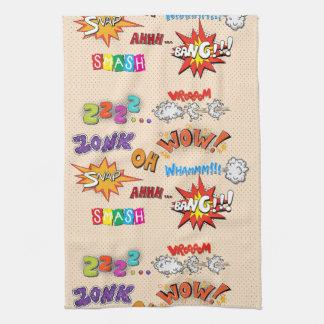 Diseño de las expresiones del estilo del cómic toallas de cocina