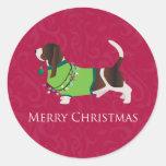 Diseño de las Felices Navidad de Basset Hound Pegatina Redonda