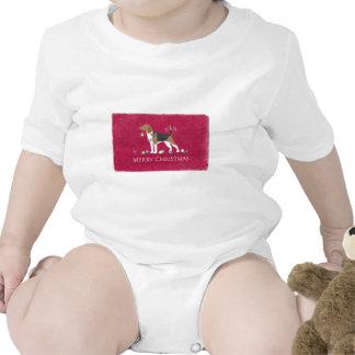 Diseño de las Felices Navidad del beagle Trajes De Bebé