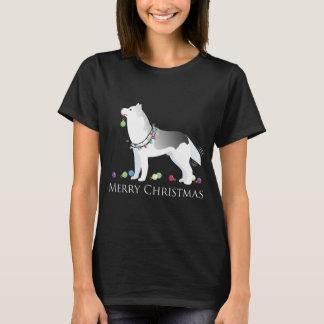Diseño de las Felices Navidad del husky siberiano Playera