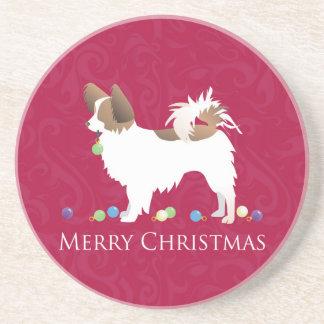 Diseño de las Felices Navidad del perro de Posavasos Manualidades