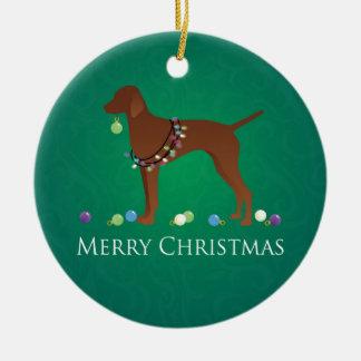Diseño de las Felices Navidad del perro de Vizsla Adorno Navideño Redondo De Cerámica