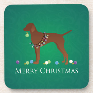 Diseño de las Felices Navidad del perro de Vizsla Posavasos