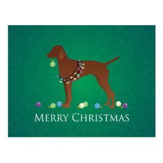 Diseño de las Felices Navidad del perro de Vizsla Postal