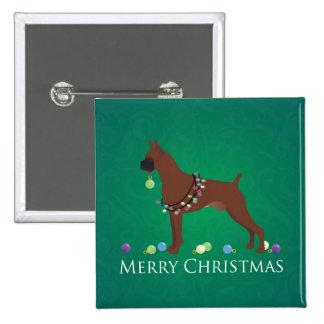 Diseño de las Felices Navidad del perro del Pin Cuadrada 5 Cm