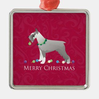 Diseño de las Felices Navidad del Schnauzer Adorno Cuadrado Plateado