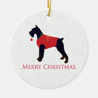 Diseño de las Felices Navidad del Schnauzer Adorno Redondo De Cerámica
