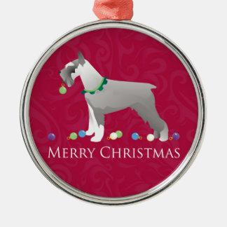Diseño de las Felices Navidad del Schnauzer Adorno Redondo Plateado