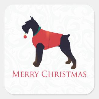 Diseño de las Felices Navidad del Schnauzer Pegatina Cuadrada