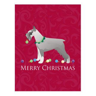 Diseño de las Felices Navidad del Schnauzer Tarjeta Postal