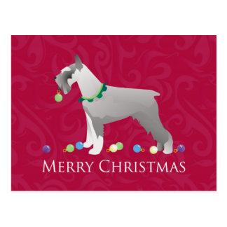 Diseño de las Felices Navidad del Schnauzer Tarjetas Postales