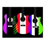 Diseño de las guitarras del arco iris postal