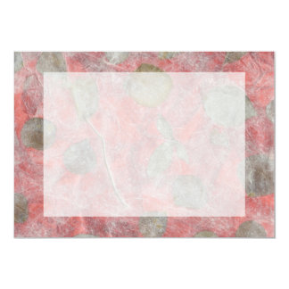Diseño de las hojas del rosa en papel seda rojo invitación 12,7 x 17,8 cm