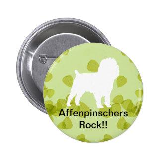 Diseño de las hojas del verde del Affenpinscher Pin Redondo De 2 Pulgadas