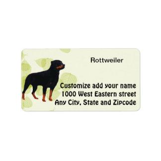 Diseño de las hojas del verde del ~ de Rottweiler Etiqueta De Dirección