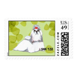 Diseño de las hojas del verde del ~ de Shih Tzu Estampilla