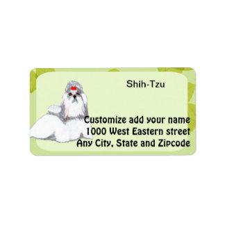 Diseño de las hojas del verde del ~ de Shih Tzu Etiquetas De Dirección