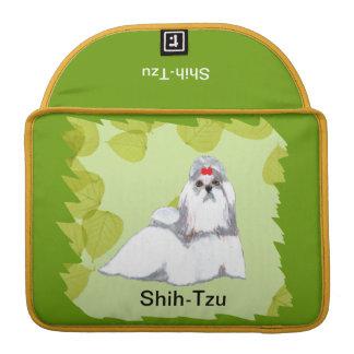 Diseño de las hojas del verde del ~ de Shih Tzu Fundas Macbook Pro