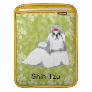 Diseño de las hojas del verde del ~ de Shih Tzu Fundas Para iPads