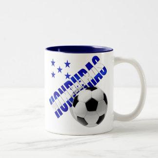 Diseño de las ilustraciones de la bola del fútbol taza de dos tonos