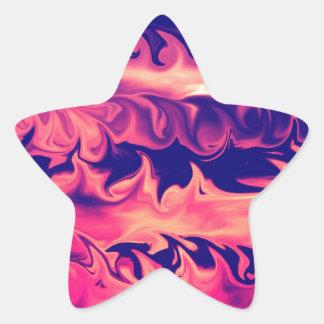 Diseño de las llamas del fuego pegatina forma de estrella personalizada