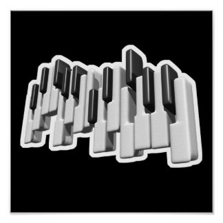 diseño de las llaves de teclado de piano póster